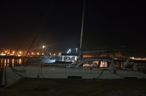 Davali at dock in Mallorca with full moon rising