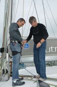 Jan helps me get ready to climb with Spinlock Mast Pro