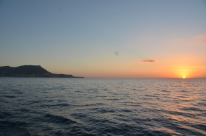Leaving Gibraltar at sunrise.